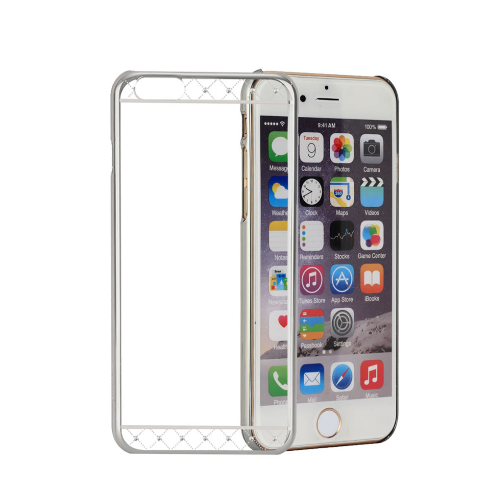 Swarovski® Element Case, For iPhone® 6 / 6s, Hard PC transparent material, Crystals Strip, Silver