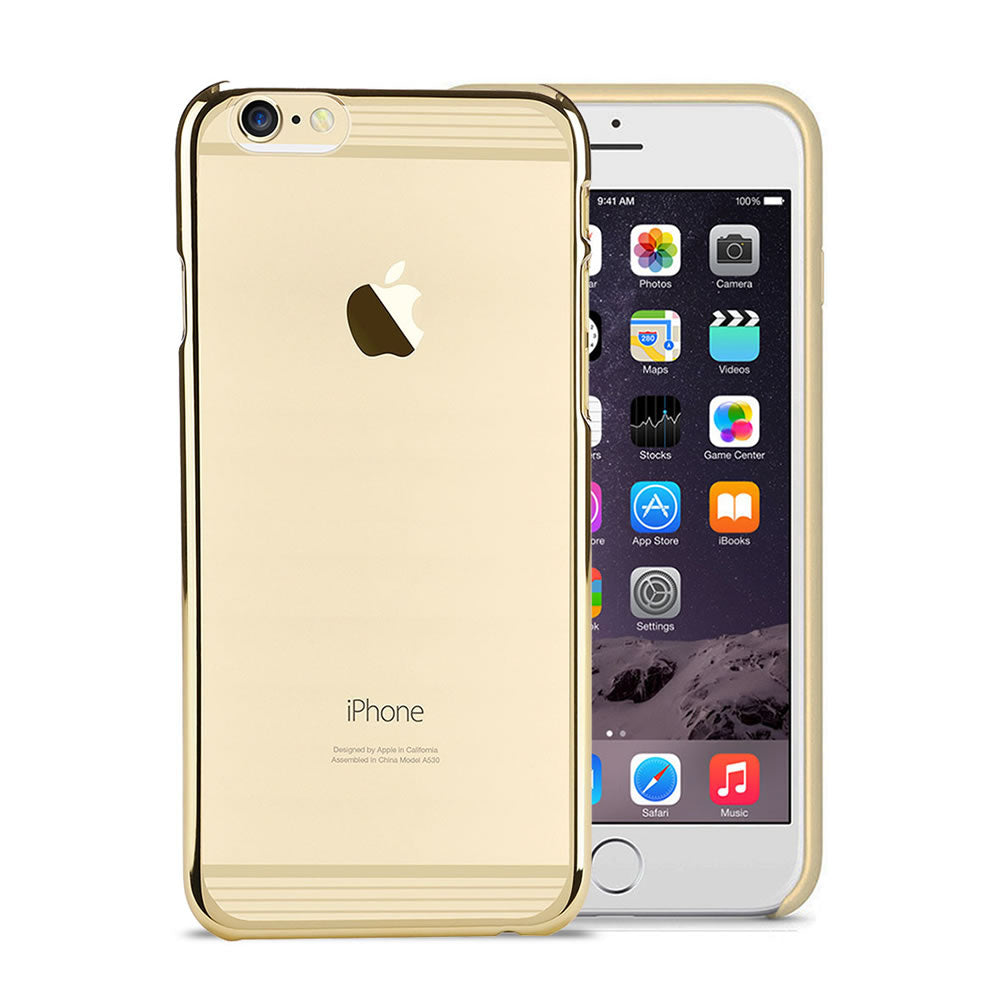 Electro Paint Clear Case, For iPhone® 6 / 6s Plus, Clear case with Electro paint strips, Transparent + Gold