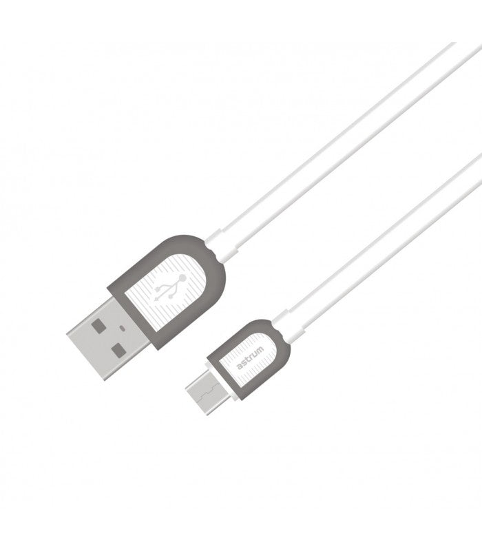 Micro USB Charge / Sync Cable, Micro usb male - usb male, Flat cable, Dual color connectors, 1.0Meter, White