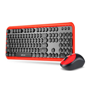 Wireless Keyboard & Mouse Combo, Retro keys keyboard, soft touch, 3B Optical Mouse, English Red + Black