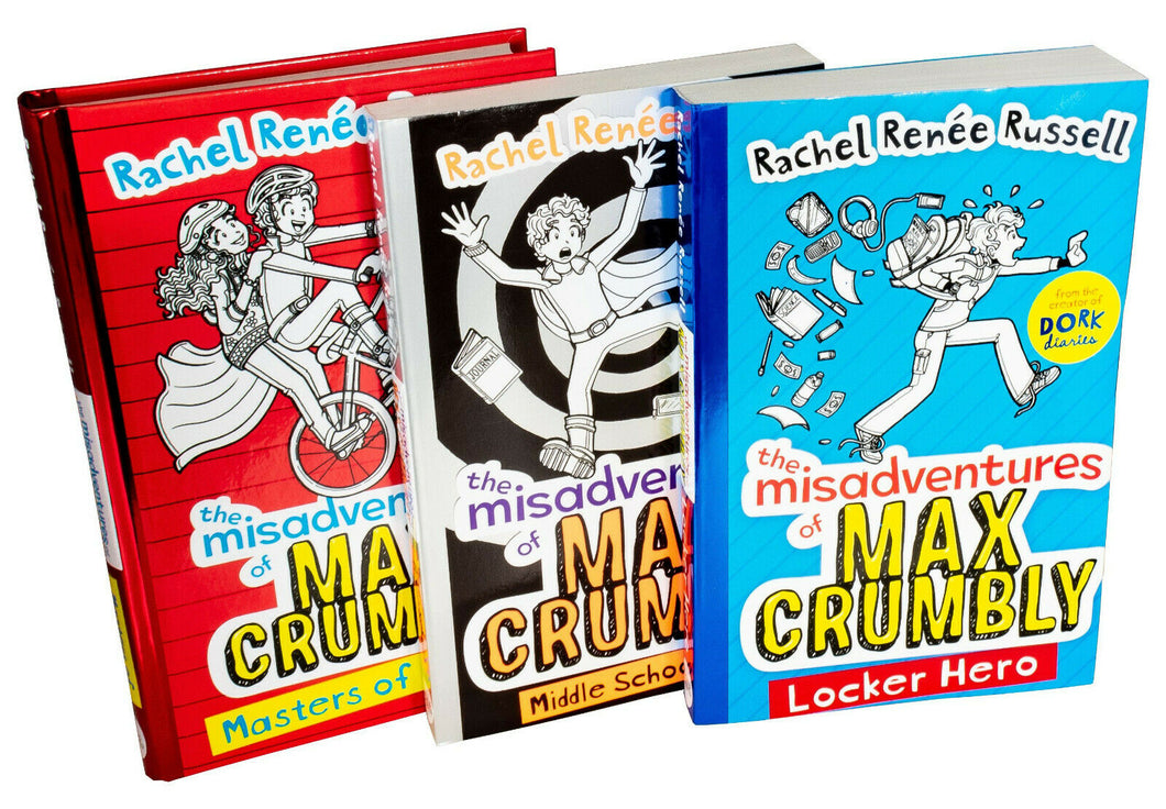 Russell Misadventures Of Max Crumbly 3 Books Children Set By Rachel Renne