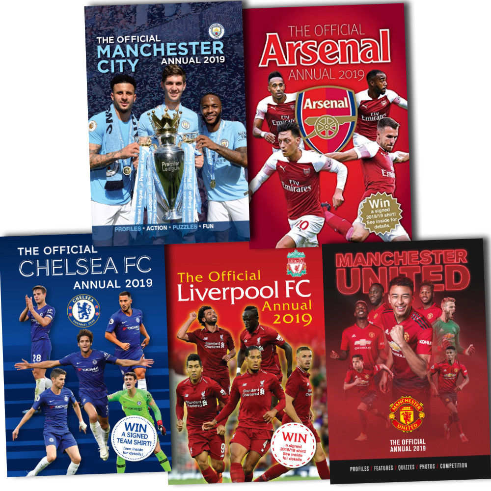 Official Arsenal Chelsea Liverpool Manchester City / United Football Annual 2019