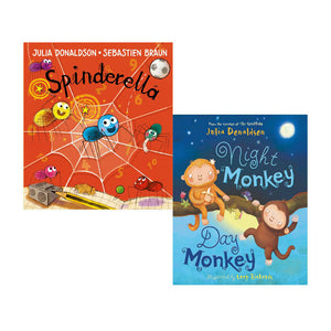 Julia Donaldson 2 Books Children Collection Paperback Night Monkey, Spinderella