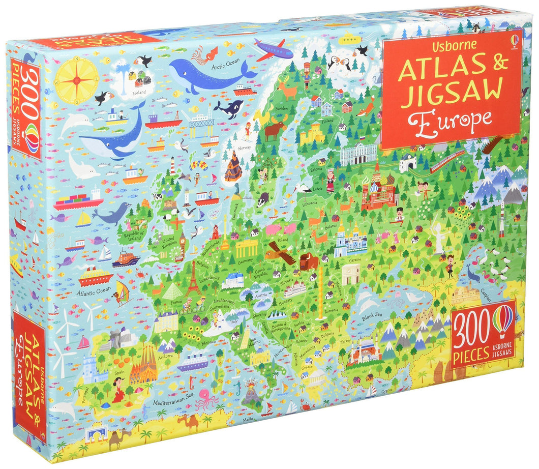 Usborne Atlas and Jigsaw Europe Box - Ages 5+ By Jonathan Melmoth