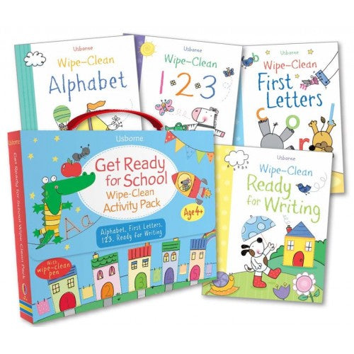 Usborne Get Ready for School Wipe-Clean Activity Pack 4 Book Collection