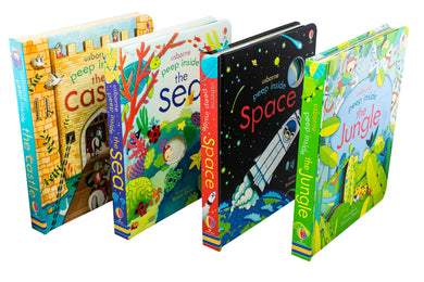 Usborne Peep Inside Collection 4 Book Set Space, Sea, Jungle, Castle