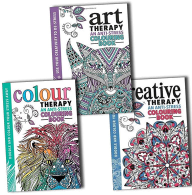 Adult Colouring Anti Stress Art, Colour and Creative Therapy 3 Books - Bangzo Books Wholesale