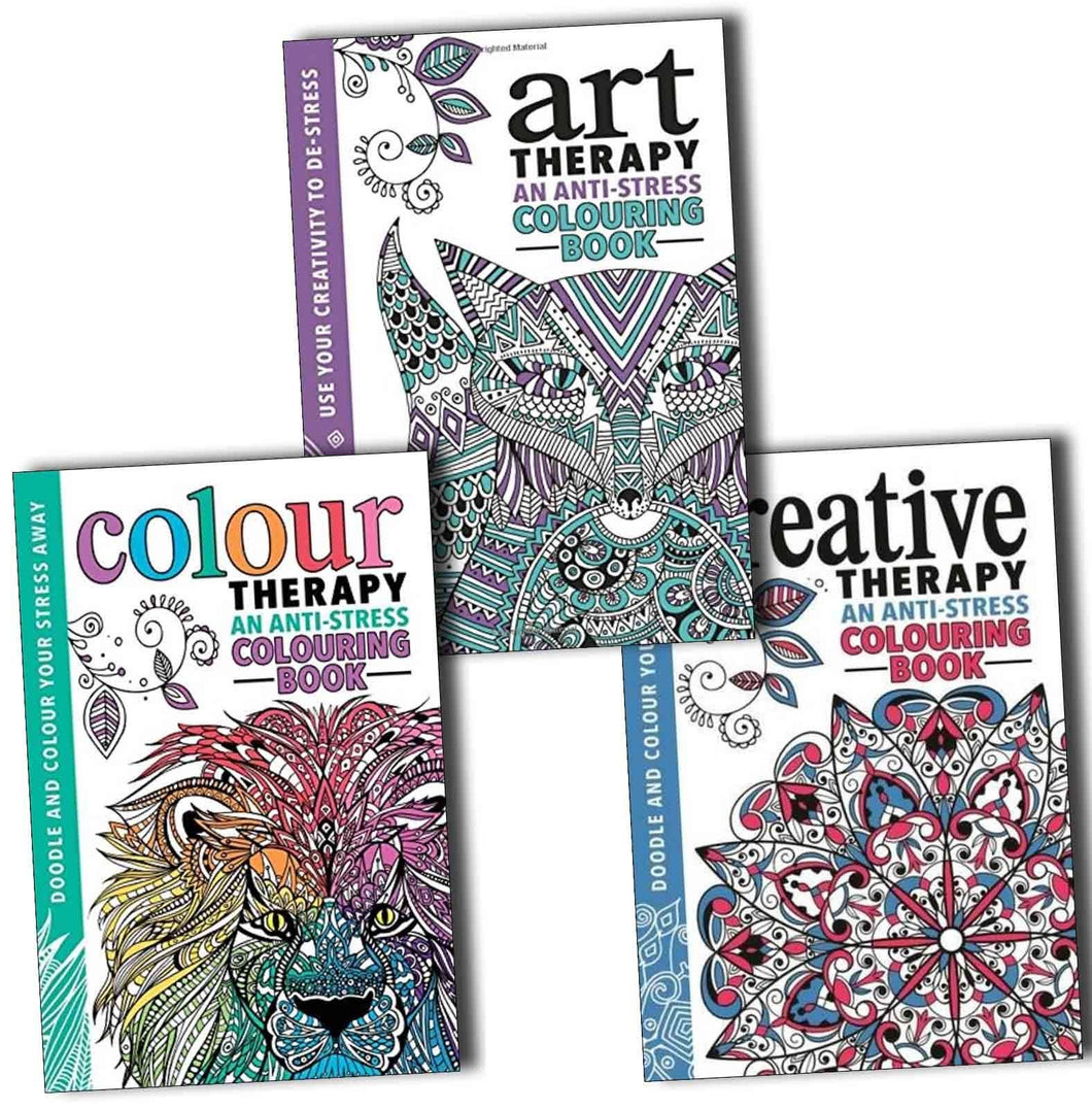 Adult Colouring Anti Stress Art, Colour and Creative Therapy 3 Books