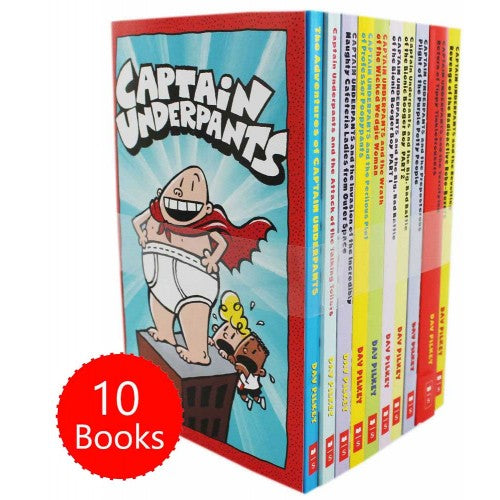 Captain Underpants 10 Books Children Collection Paperback Set By Dav Pilkey