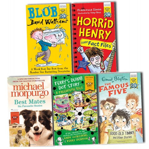 World Book Day 5 Books Collection Pack Set - Blob Horrid Henry Enid Blyton