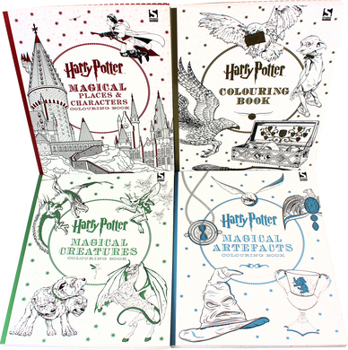 Harry Potter 4 Colouring Books Collection Set