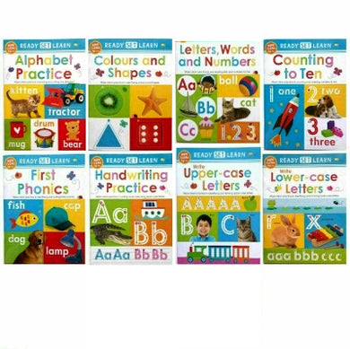 Ready Set Learn 8 Early Learning Wipe Clean Books Colours Shapes Numbers Phonics Handwriting Counting - Ages 5-7 – Paperback
