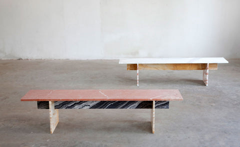 White and Red Marble Benches