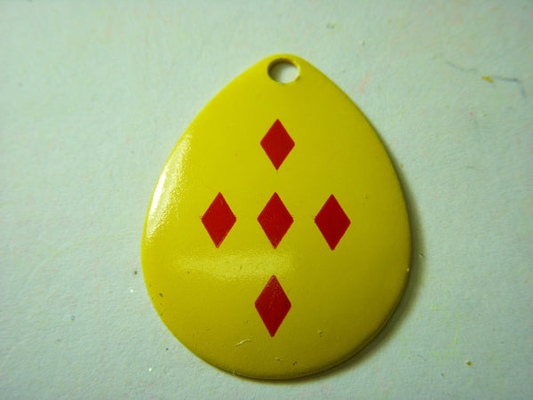 Colorado Mustard Yellow with 5 Red Diamonds Spinner Blade Size 4 Singles