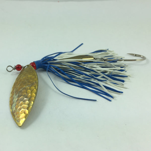 Fishing Lure Blue White Rubber Lure Skirt Willowleaf Spinner