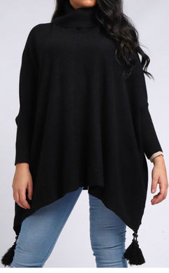 Plus Size Knitted Roll Neck Poncho with Sleeves
