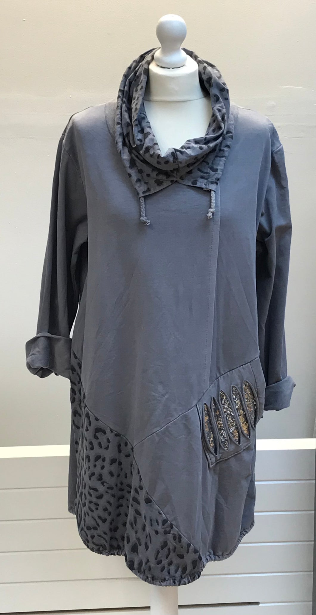 Cowl Neck Leopard Print Top
