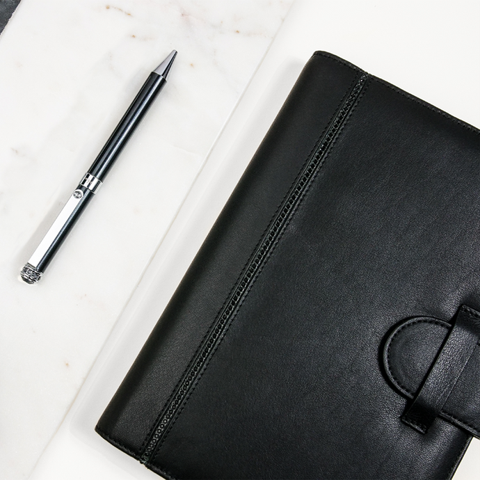 Unisex Pen With Straight Clip - Black + Notebook