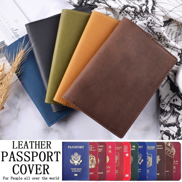Genuine Leather Passport Card Holder