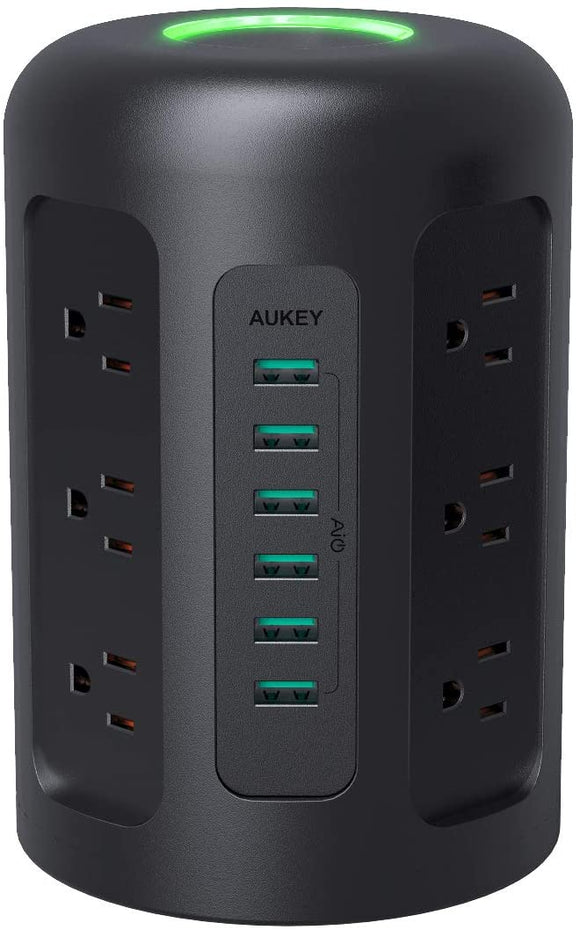 AUKEY PA-S14 Power Strip Surge Protector, 6 USB Ports and 12 AC Outlets with 5-Foot Heavy Duty Extension Cord for Smartphones, Laptop, Tablet, and More Appliances, 1500 Joules