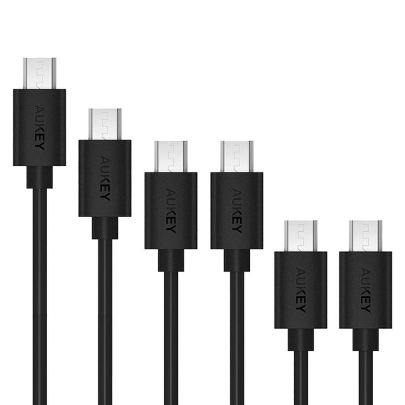 AUKEY CB-D17 Qualcomm Quick Charge (1 x 3M 1 x 2M 2 x 1M 2 x 0.3M) 6 Pack Micro USB Cable