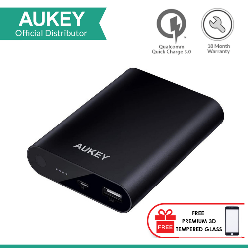 Aukey PB-AT1 10400MAH POWER BANK WITH QUALCOMM QUICK CHARGE 3.0 with FREE PREMIUM 3D TEMPERED GLASS FOR SAMSUNG GALAXY S8+