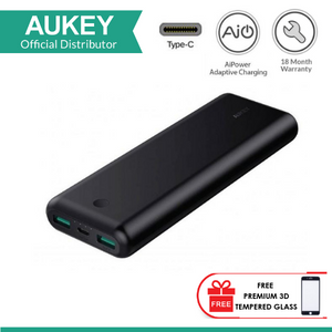 AUKEY PB-BY20 20100MAH USB C POWER BANK with FREE PREMIUM 3D TEMPERED GLASS FOR SAMSUNG GALAXY NOTE 8