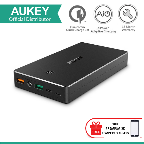 AUKEY PB-T10 20000MAH PORTABLE CHARGER WITH QUICK CHARGE 3.0 POWER BANK with FREE PREMIUM 3D TEMPERED GLASS FOR SAMSUNG GALAXY NOTE 8