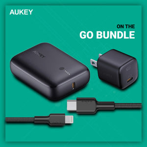 Aukey TK-2 On-The GO Bundle for iPhone12 , combination of Omnia Mini 20W USB C Charger, AUKEY Smallest 10000mAh Power Bank with 18W PD and QC 3.0 High-Speed Charging and Aukey CB-CL1 Impulse MFi Braided Nylon USB C to Lightning Cable, 1.2m, Black