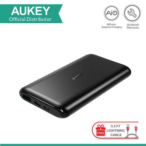 AUKEY PB-XN10 10000MAH USB-C POWER BANK WITH LIGHTNING CABLE