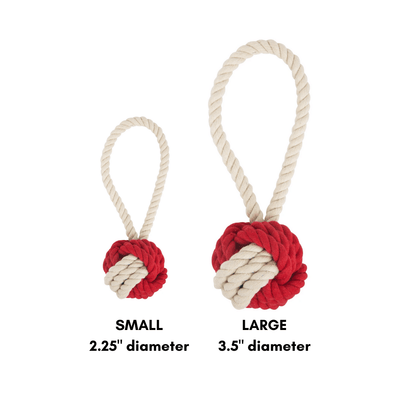 Tug and Toss Dog Rope Toy - Red and Natural Colorblock