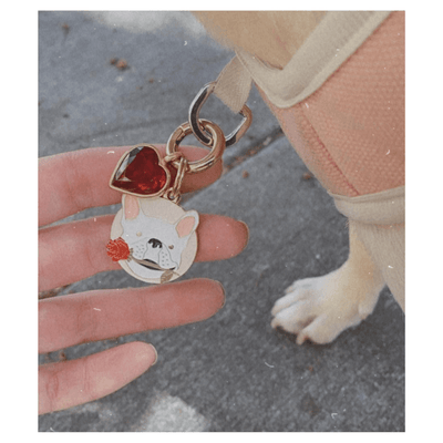 Frenchie Rose ID Tag (Free Custom Engraving!)