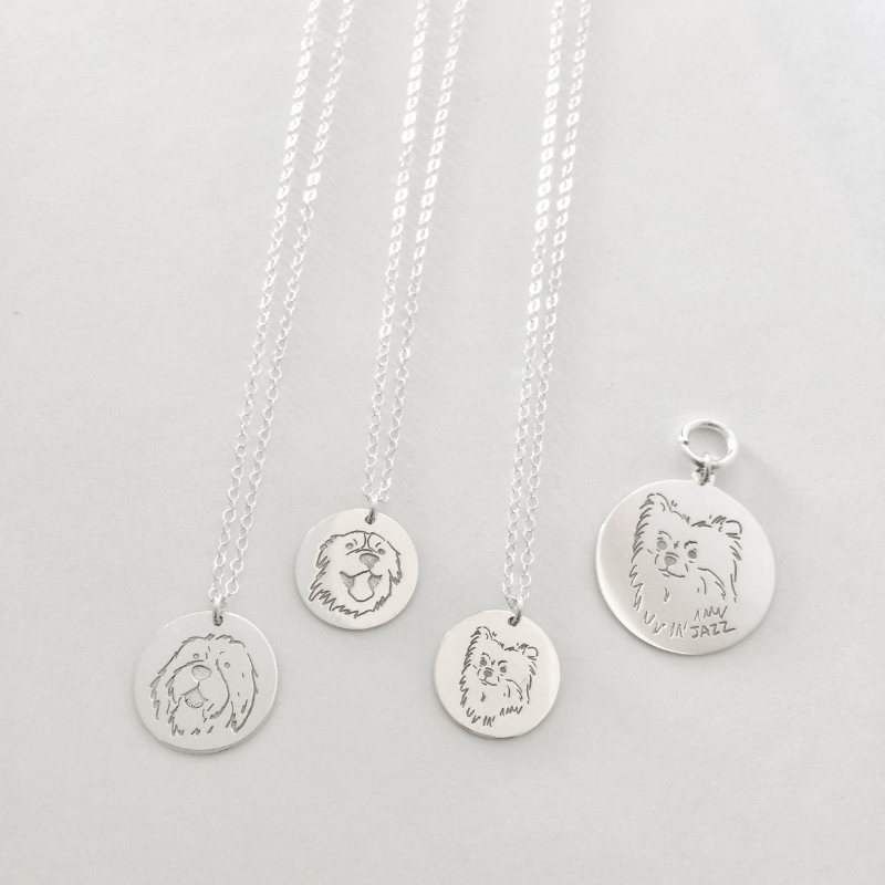 Personalized Pet Portrait Necklace - Sterling Silver / Gold Plated