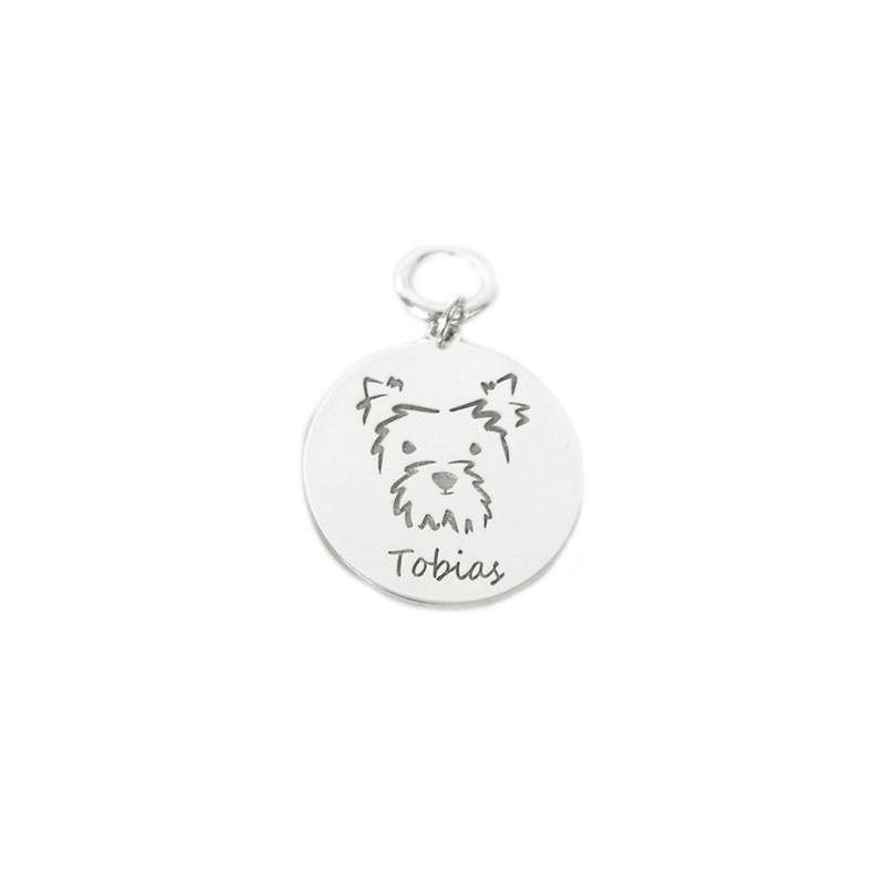 Personalized Pet Portrait Tag - Sterling Silver / Gold Plated