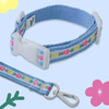 Vintage Blue Flower Collar + Leash Set