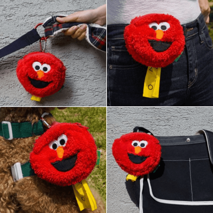 Elmo Monster Poop Bag Holder Leash Bag Leash Accessories BACONBOX