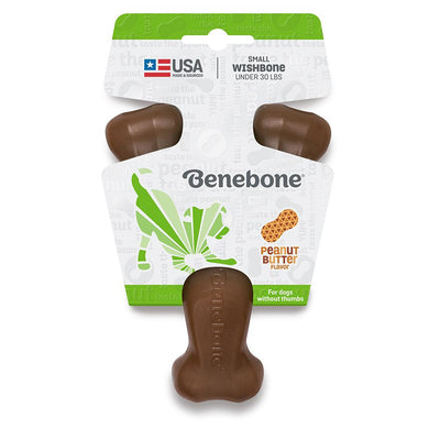 Benebone Real Flavor Wishbone Dog Chew Toy - Real Peanut Toy Benebone Small