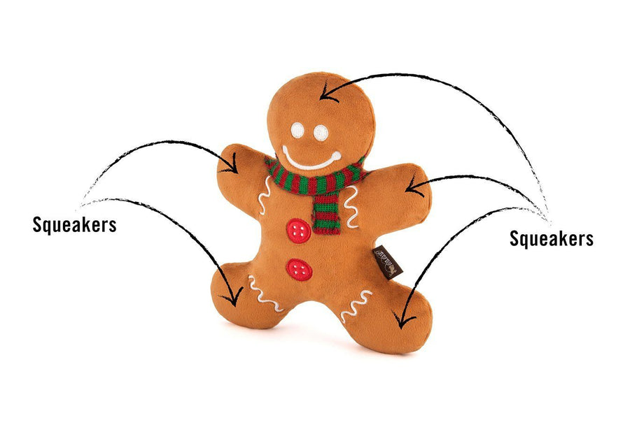 Gingerbread Man Holiday Dog Toy