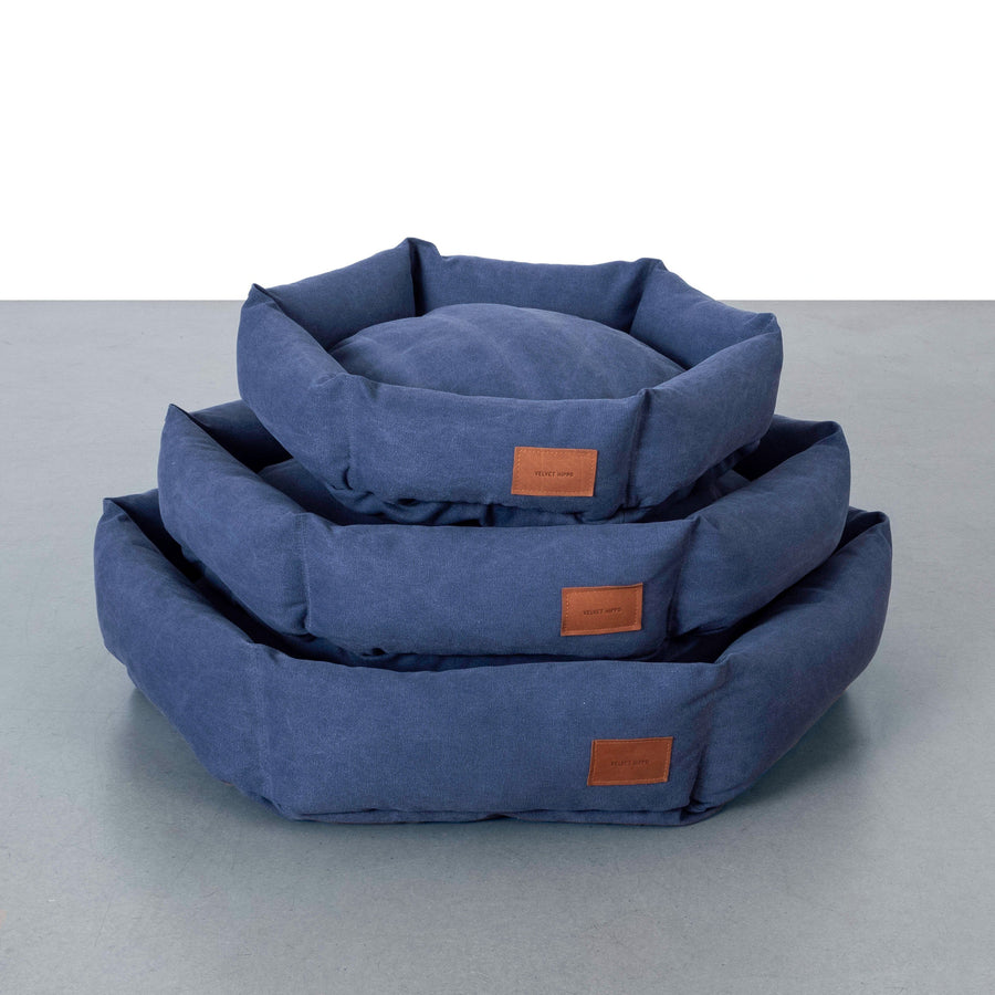 Hex Cushion Bed in Rugged Canvas - Ocean Bed Velvet Hippo