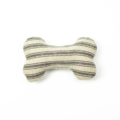 Ticking Stripe Black Dog Bone Squeaky Toy