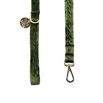 Nice Digs - Velvet Dog Leash - Evergreen