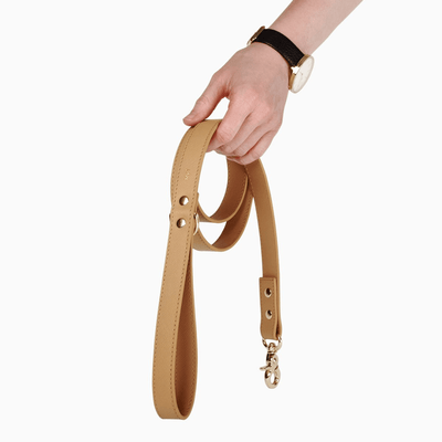 Classic Tan Leather Dog Leash