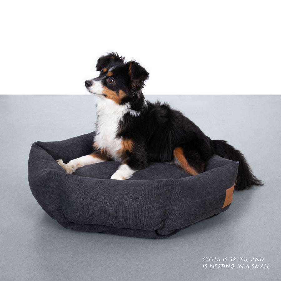 Hex Cushion Bed in Rugged Canvas - Shadow Bed Velvet Hippo