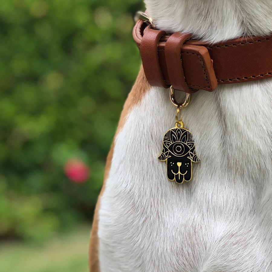 Black Dog Hamsa Enamel Charm / ID Tag (Free Custom Engraving) Charms Two Tails