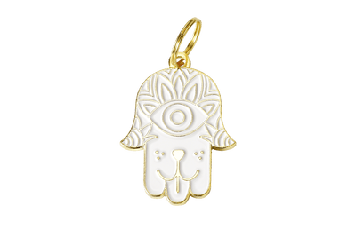 White Dog Hamsa Enamel Charm / ID Tag (Free Custom Engraving)