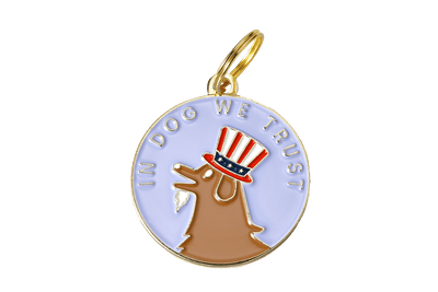 In Dog We Trust Enamel Charm / ID Tag (Free Custom Engraving)