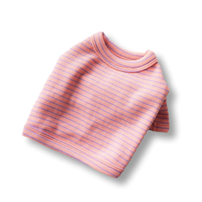 Striped Crop Tee - Pink/Purple