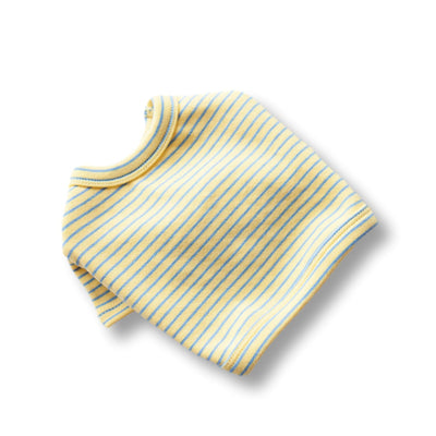 Striped Crop Tee - Yellow/Blue