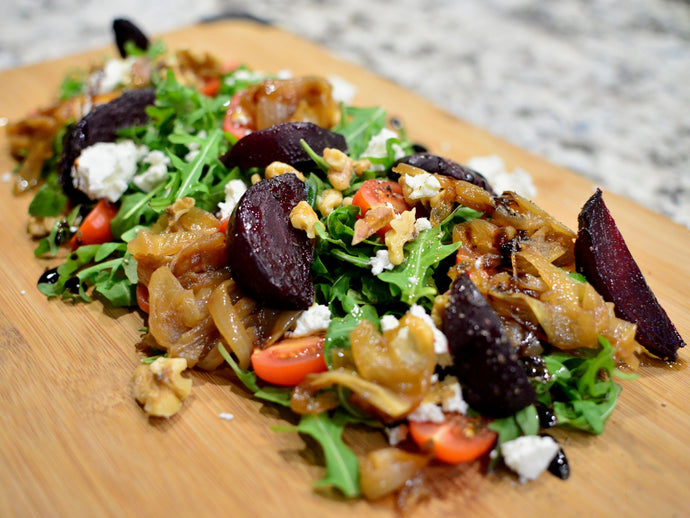 NZ Olive Oil Recipes: Roast Beetroot, Goats Cheese and Rocket Salad with Caramelised Onions and Toasted Walnuts