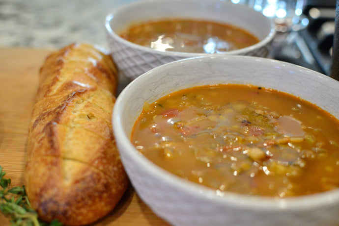NZ Olive Oil Recipes: Spiced Lentil, Bacon and Tomato Soup